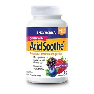 Enzymedica - Acid Soothe, Occasional Heartburn & Indigestion Berry Flavor, 60 Chewables