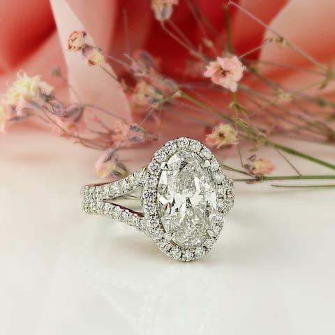 Auriya 14k Gold 5 1/4ctw Oval-cut Halo Diamond Engagement Ring Certified