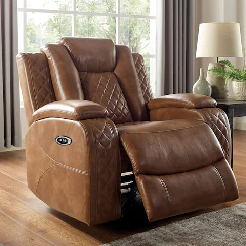 Furniture of America Yoma Transitional Brown Faux Leather Chair