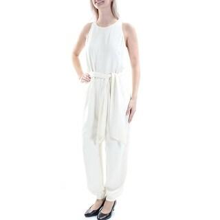 RALPH LAUREN $165 Womens New 1157 Ivory Belted Sleeveless Harem Jumpsuit 4 B+B
