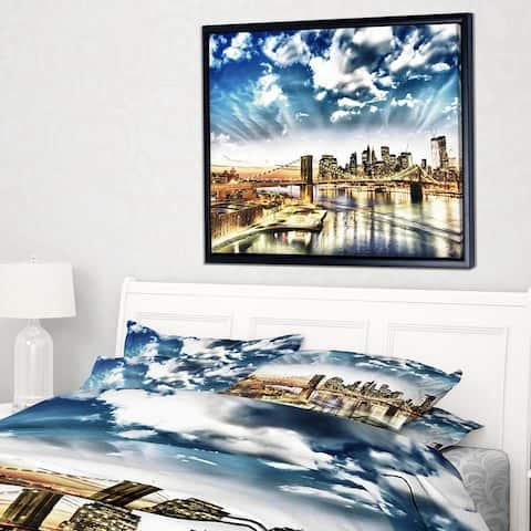 Designart 'Winter Clouds Over Manhattan' Cityscape Photo Framed Canvas Print