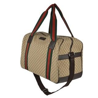 Gucci Diamond Web Detail Canvas Travel Duffel Bag