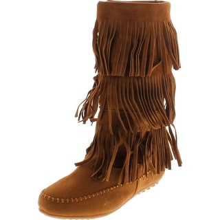 Shoes Of Soul Womens Mid Calf Faux Suede Moccasins Flat 3 Layer Fringe Side Zipper Boots Shoes