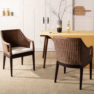 "Link to SAFAVIEH Rural Woven Dining Enrico Multi/ Brown Arm Chair - 23"" x 23.3"" x 34"" Similar Items in Kitchen & Dining Room Chairs"
