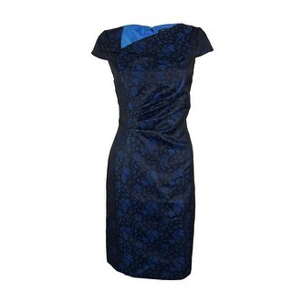 Tahari Women's Cap Sleeve Lace Print Dress - Royal Blue/Black