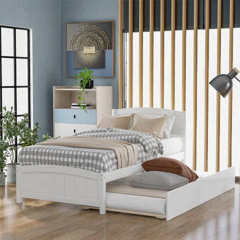 Merax Twin Size Platform Bed with Trundle