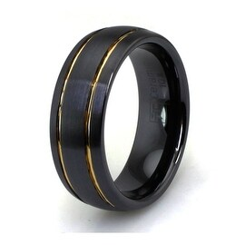 Domed Black Ceramic Ring with Dual Golden Strip