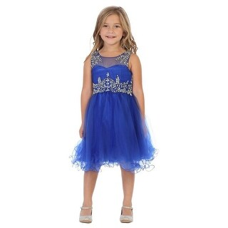 My Best Kids Little Girls Royal Blue Stone Accented Flower Girl Dress