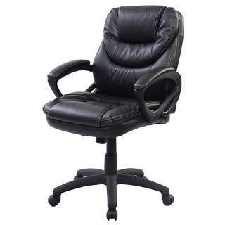 Costway Pu Leather Ergonomic Mid Back Executive Computer Desk Task Office Chair Black