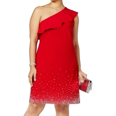 MSK Womens Plus Embellished One-Shoulder Ruffed Sheath Dress