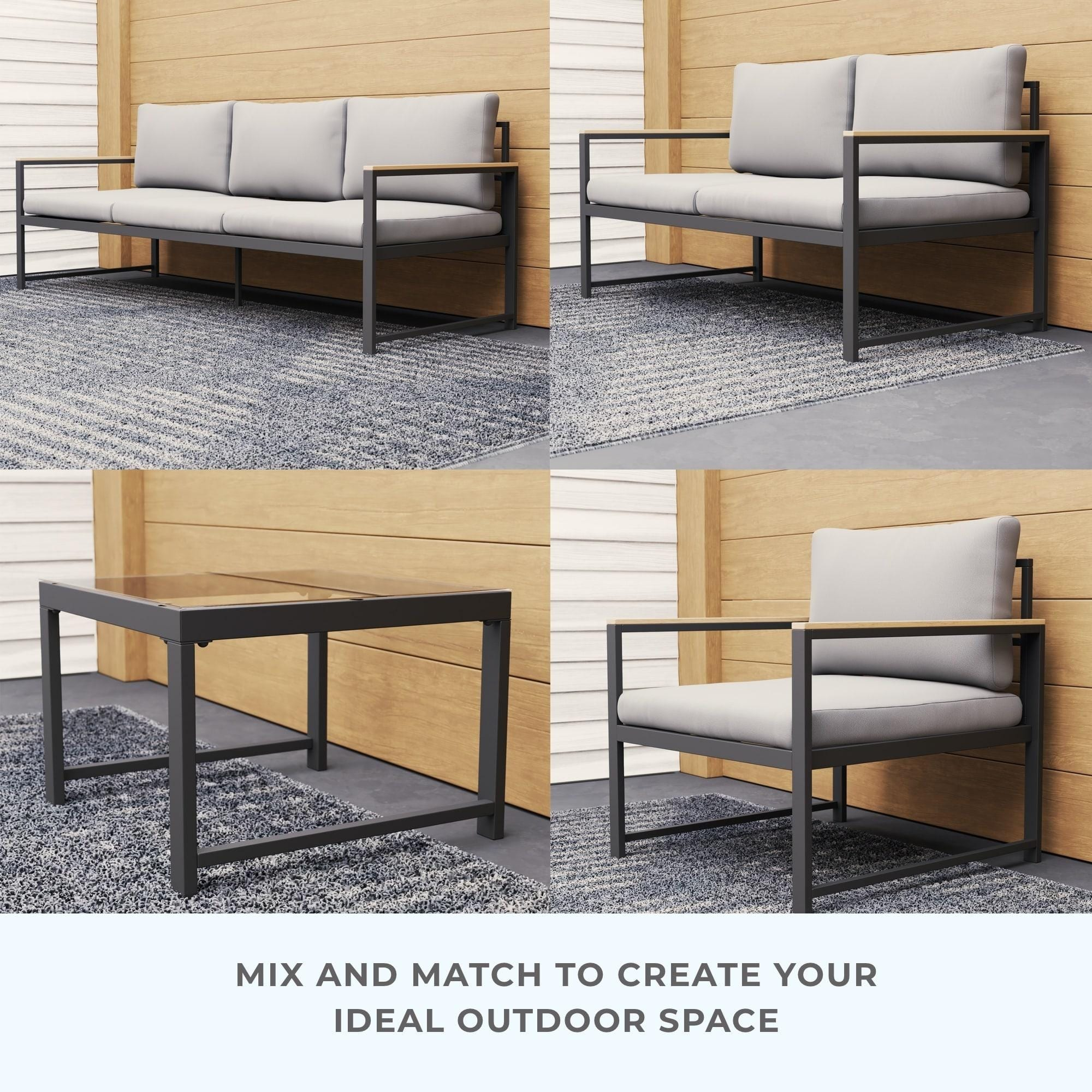 Brookside Meg Outdoor Metal Seating Set with Cushions