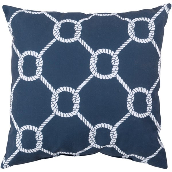"""18"""" Ink Gray and Lace White Roped Square Throw Pillow Shell"""