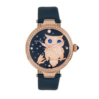 Bertha Rosie Leather-Band Watch - Rose Gold/Navy