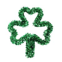 "17"" St. Patrick's Day Irish Tinsel Shamrock Window Silhouette Decoration - Green"