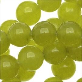 Olive Green Jade Gemstone Beads, 6mm Round, 15 Inch Strand