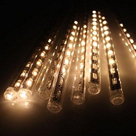 AGPtek 8pcs 50cm 240LEDs Tube Colorful Meteor Shower Rain Lights Snowfall Light for Wedding Party Christmas Warm White)