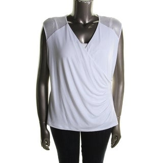 Calvin Klein Womens Plus Pullover Top Matte Jersey Perforated - 2x