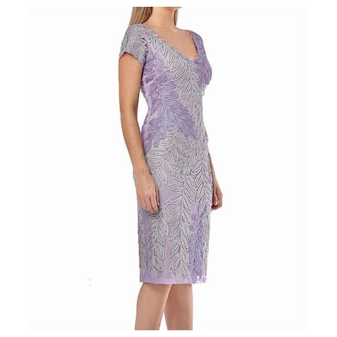JS Collections Womens Dress Purple Size 4 Leaf Embroidered V-Neck
