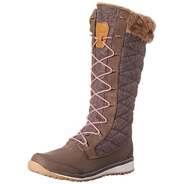 Salomon Womens Hime High Winter Boots Quilted Faux Fur Lined
