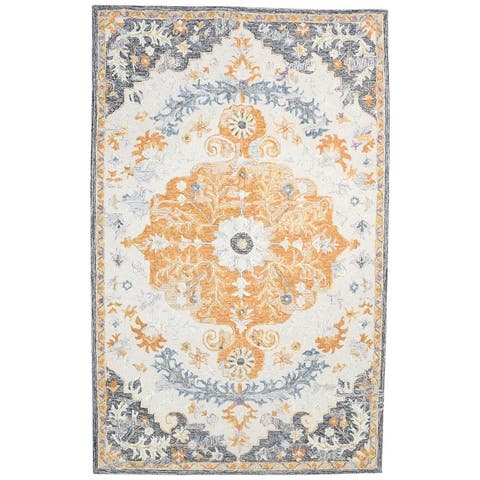 """One of a Kind Hand-Tufted Persian 5' x 8' Medallion Wool Grey Rug - 4'11""""x7'11"""""""