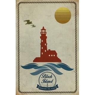 Block Island, RI - Lighthouse Icon - LP Artwork (Art Print - Multiple Sizes)