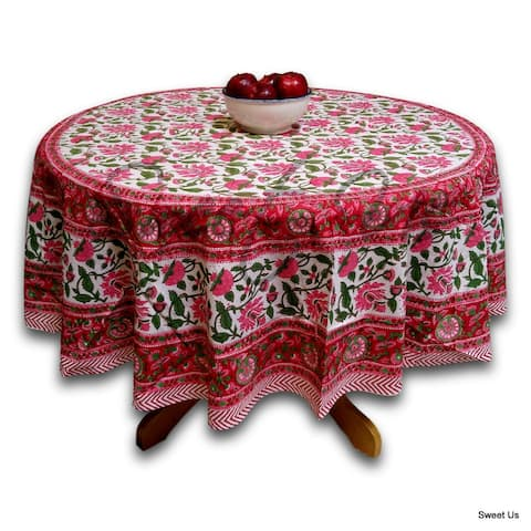 Cotton Lotus Flower Block Print Round Tablecloth Rectangle Square Table Linen Red Pink Green