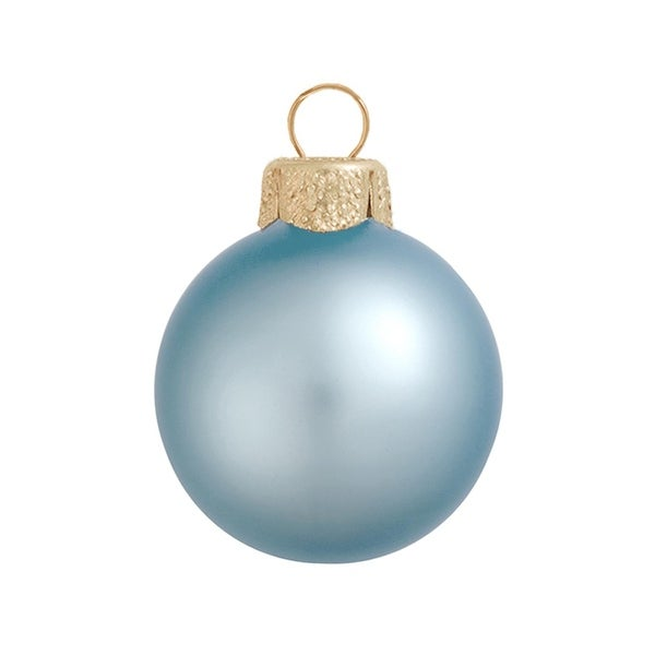 "40ct Matte Sky Blue Glass Ball Christmas Ornaments 1.5"" (40mm)"