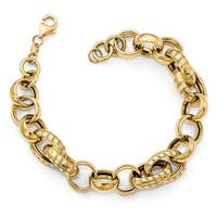 Italian 14k Gold Fancy Bracelet - 7.5 inches