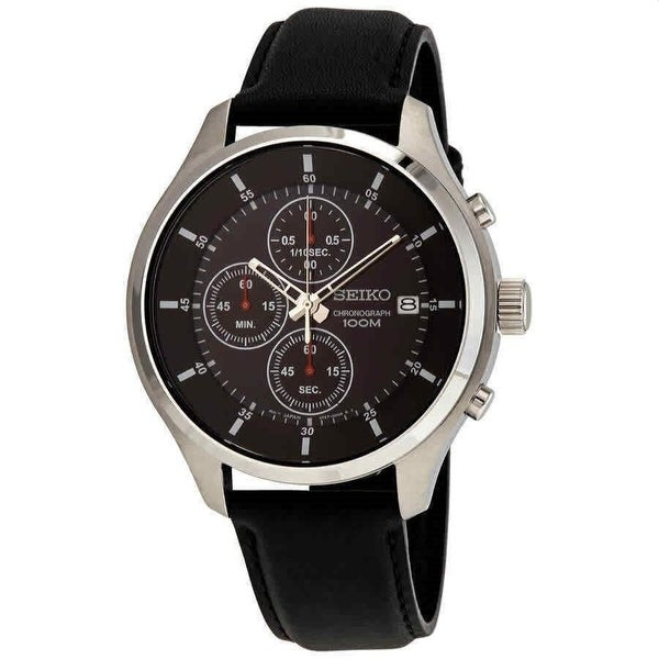 Seiko Men's SKS539P2 'Neo Sports' Chronograph Black Leather Watch. Opens flyout.