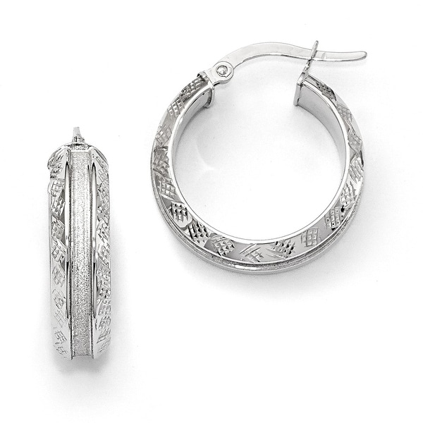 Italian 14k White Gold Hoop Earrings