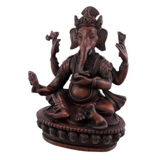 Teak Finish 6 Inch Ganesha Hindu God Statue Ganesh - Brown