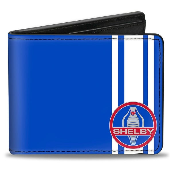 Shelby Cobra 3 Stripe + Signature Blue White Gray Red Bi Fold Wallet - One Size Fits most