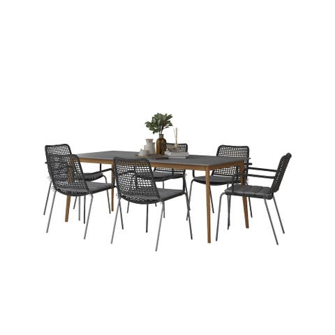 Midtown Concept Seville Indoor Dining Room Table Set Dining Set Kitchen Table with Chairs Home Decor - Black Rope Chairs