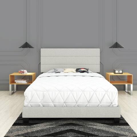Sleep Sync Simona Upholstered Tri Panel Channel Headboard Bed Frame