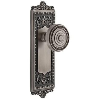 """Grandeur WINSOL_PRV_234  Windsor Solid Brass Rose Privacy Door Knob Set with Soleil Knob and 2-3/4"""" Backset"""