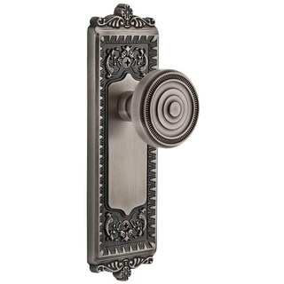 """Grandeur WINSOL_PRV_238  Windsor Solid Brass Rose Privacy Door Knob Set with Soleil Knob and 2-3/8"""" Backset"""