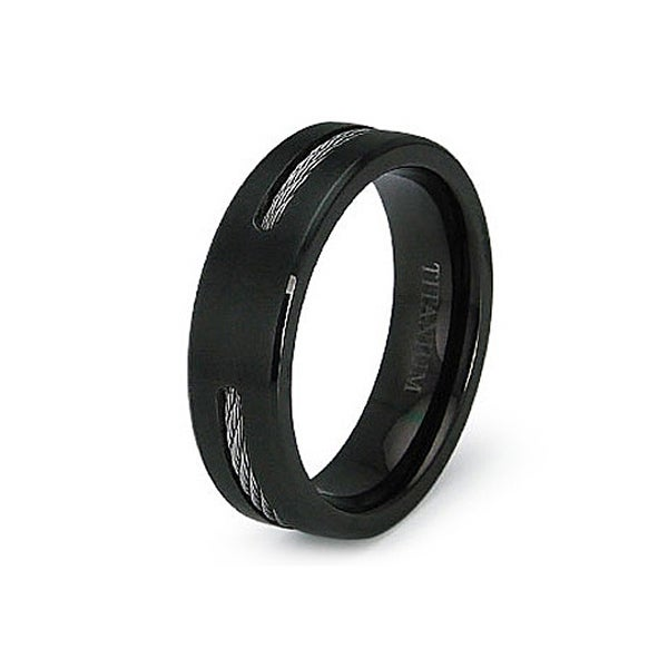 6.5mm Black Titanium Ring with Stainless Steel Cable (Sizes 7-12)
