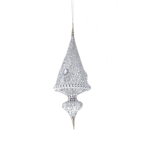 """14"""" Exquisite Imperial Triangular Silver Jeweled Christmas Ornament"""