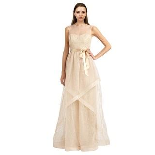 Teri Jon Swiss Dot Tulle Illusion Evening Gown Dress - 10