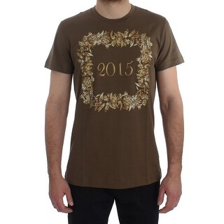 Dolce & Gabbana Crewneck 2015 Motive Print Green Cotton T-shirt - it50-l