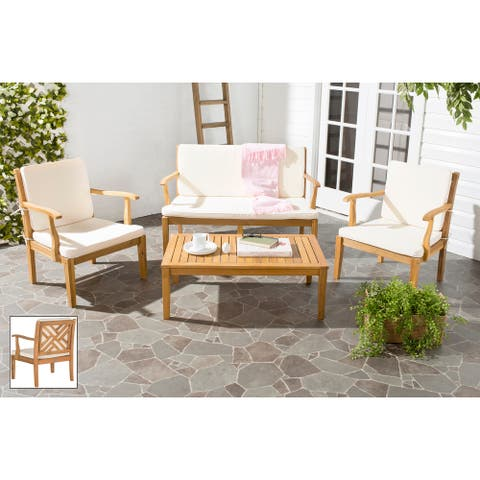 SAFAVIEH Outdoor Living Bradbury Brown Acacia Wood 4-piece Beige Cushion Patio Set