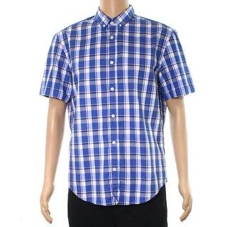 Hugo Boss NEW Blue Mens Size XL Short Sleeve Button Down Plaid Shirt