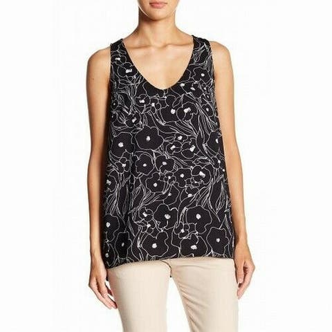 14th & Union Black Womens Size XS Floral Print V-Neck Tank Top
