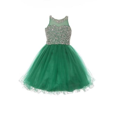 Big Girls Emerald Green Glitter Bead Wired Hem Tulle Christmas Dress