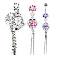 Rose w/Large CZ Center Dangle Navel Belly Button Ring 316L Surgical Steel