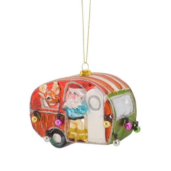 """Set of 6 Vibrantly Colored Camper Van with Santa and Reindeer Christmas Ornaments 4.5"""""""