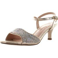 Blossom Berk-175 Women's Rhinestone Open Toe Low Kitten Heel Ankle Strap Dress Sandal - nude shimmer