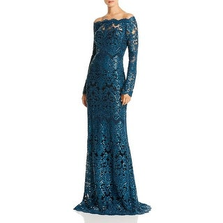 Link to Tadashi Shoji Womens Evening Dress Lace Sequined - Blue Similar Items in Dresses