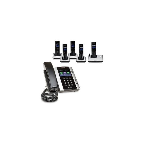 Polycom 2200-48500-001 VVX 501 12-line Business Media Phone with power supply & 5 VVX D60 Handset