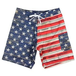 Men's USA Flag Distressed Wood Plank Design Boardshorts